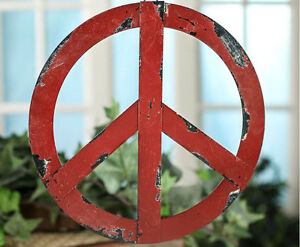 Rustic Red Metal Antiqued Groovy Peace Hanging Sign Hippie Home Door Decoration