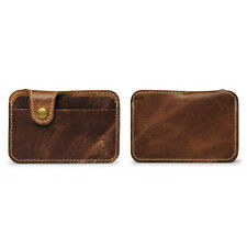 Mens Vintage Brown Leather Button Wallets Credit Crad ID Holder Purses Gifts