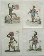 4 Antique Original Hawaii Engraved Prints: Grasset De Saint-Sauveur: Paris 1796