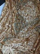 STUNNING ALL OVER HEAVY BLING GOLD PAISLEY MESH SEQUIN