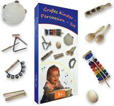 Großes Kinder-Percussion-Set,hochwertige Kinder Instrumente aus Holz, 10-teilg