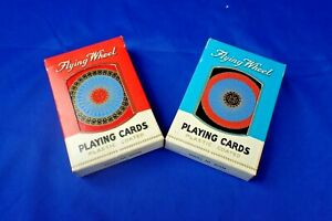 2 PACKS OF VINTAGE FLYING WHEEL PLAYING CARD DECKS NO 514 BOXED AND COMPLETE