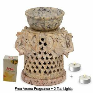Indian Soapstone Hand Craved Candle Holder Oil Diffuser Christmas Antique TLight