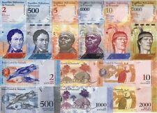 VENEZUELA - Lot Lotto 6 banconote 2/5/10/500/1000/2000 Bolivares FDS - UNC