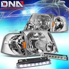 FOR 02-05 EXPLORER U152 CHROME/AMBER CORNER HEAD LIGHT LAMP+LED FOG LIGHT KIT