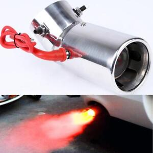 1x Spitfire Universal Car LED Curve Exhaust Pipe Red Light Flaming Muffler Tip