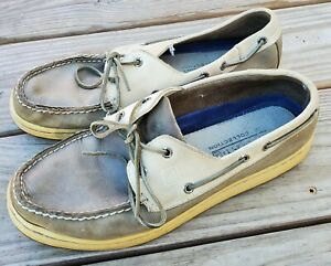 Sperry Top-Sider Men's 2-Eye Gray Tan Leather Casual Boat Shoes Size 11 M