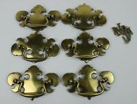 "Set of 6 Keeler Brass Large Colonial KBC Drawer Cabinet Handle Pulls 4.5"" Wide"