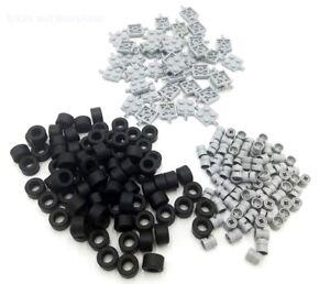 LEGO WHEELS 200 Piece Set - 40 GREY Plates / Axles - 80 Tyres - 80 Wheels