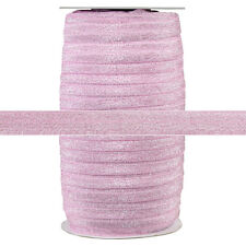 100 Yard Spool - Fold Over Elastic - Pink Glitter Fairy - 5/8in Wide - FOE