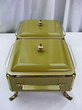 Vintage 1960s Green Enamel Server Buffet Chaffing Dish Double Casserole