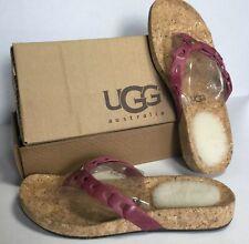 UGG AUSTRALIA Sz 5 Pink Leather Flip Flop Sandals 1804 Maremma