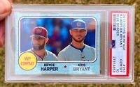 "BRYCE HARPER /KRIS BRYANT ""Blue Border /50"" 2017 Topps Heritage MVP PSA 10 Pop 8"