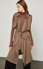 """BCBG """"Brielle"""" Trench Coat/VEST XXS Brown Sleeveless Belted NWT Solid  #227"""