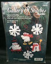 Bucilla Gallery Of Stitches Felt Ornament Kit 33610 Snowmen And Snowflakes NIP