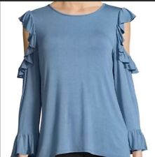 NWT Karl Lagerfeld Cold Shoulder Top French Blue Ruffled Bell Sleeve Blouse S