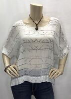 New Cloth & Stone Anthropologie Medium Boxy Dolman Sheer Top Shirt Blouse