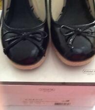 Coach Black Patent Leather Crinkle Ireland Wedge Espadrille Shoes Size 8 1/2