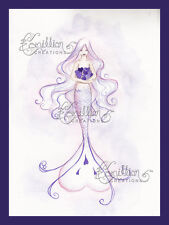 Purple Hearts Mermaid Print from Original Painting By Camille Grimshaw Sea Fairy