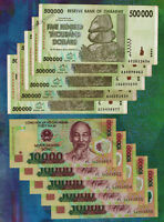 5 x 500 Thousand (500,000) Zimbabwe Dollars & 5 x 10,000 Vietnam Dong Bank Notes