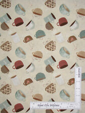 But First Coffee Cafe Cup Toss Cream Tan Cotton Fabric Wilmington By The Yard