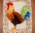 Mid-Century Rooster Hand Hooked Rug Wall Hanging Cottage Chic Rectangle 32 x 24