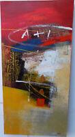 Quadro astratto moderno arredo cm 100x50 dipinto tela materico arancio  caldo