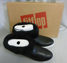 Fitflop Skatebootie Leather Shearling Cuff Black Ankle Boots Ladies Box Size 5
