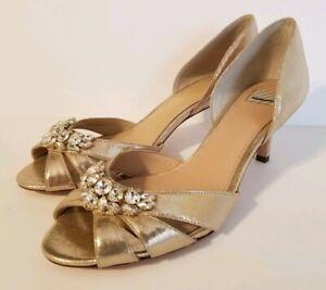 BHLDN Hitherto Martina D'orsay Gold Rhinestone Peep Toe Sandal Heel Size 7.5 New