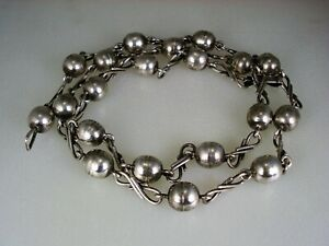 """Fantastic Old Taxco Mexico Sterling Silver Bead """"Pearls"""" Necklace signed AA"""