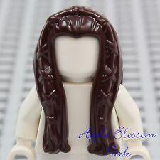 NEW Lego Girl Minifig Long Dark BROWN HAIR Braided Princess Female Elf Head Gear