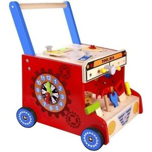 Tooky Toy Wooden Baby Walker, Tool Bench Toy,  Baby Activity toy