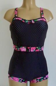 Retro Boyleg Swimsuit Black Pink 8 Floral Spot Vintage Swim Costume 2Chillies