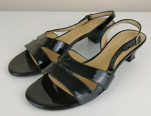 Russell & Bromley Black Leather Slingback Low Heel Open Toe Shoes Size 38.5