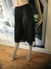 Vintage Pink Lady  Lace Trim Black Petipants Sleepwear Size M