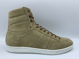 $700 Saint Laurent Tan Suede High Tops Sneakers US 9, Made in Italy