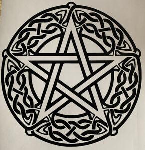 1x Pentagram Wiccan Pagan Rune Car Van Vinyl Sticker Decal Graphic 4in Black