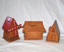 Vintage Wood House Windmill & Church? Still Banks Made Poland Set of 3