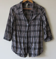 JUST JEANS GRUNGE HIPSTER PLAID BLOUSE - Black, white and grey check - Sz 8