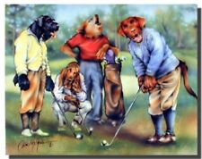 Dogs Playing Golf Sports Kids Room Wall Decor Art Print Poster (16x20)