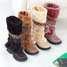Womens Warm Pull On Shoes Trendy Suede Faux Fur Furry Winter Snow Mid-Calf Boots
