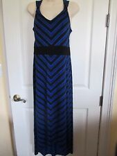 NWT-APT. 9 sleeveless V-neck Stretchy Maxi Dress - sz PL - MSRP $50.-Blue/Black
