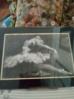 "Original Pencil Drawing Of A Ballerina ""Sandy Owens""  Glass Cover 13.5 x 10.5"