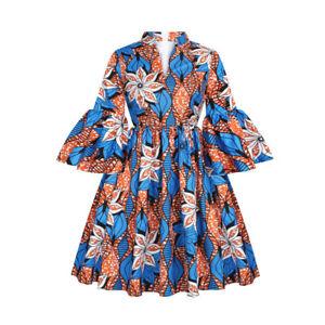 Women African Ankara Print Maxi Dress Attire Lotus Sleeve V Neck African Dresses