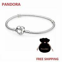 Pandora Sterling Silver Heart Charm Bracelet 596268 Moment Logo Unisex Luxury