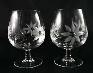 Pair Stunning Cut Lead Crystal Brandy glasses Mixer Whisky etched floral