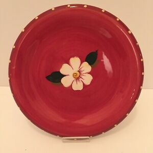 """Oneida Sunset Bouquet Plate Luncheon Salad Decorative Red Hand Painted Floral 8"""""""