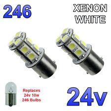 2 x White 24v LED BA15s 246 R10W 13 SMD Number Plate Interior Bulbs HGV Truck