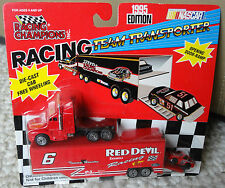 1995 HOUSTON #6 RED DEVIL ENAMELS RACING CHAMPIONS TRANSPORTER W/ CAR-VERY RARE!