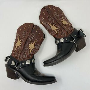 Ariat Boots 6 Women's Western Multicolor Leather Cowboy Cowgirl Boot Chains